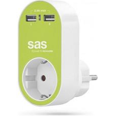 Adaptor Ρεύματος SAS 1 Θέσης Και 2 Εξόδων USB Λαχανί